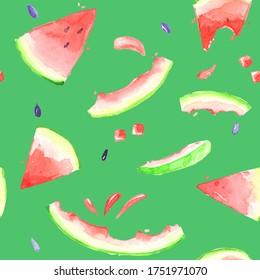 watermelon peel stub bitten slice slice green pink sweet summer season dessert bright children s watercolor pattern seamless repetitive