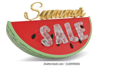 Watermelon slice with summer slae text isolated on white background 3D illustration.