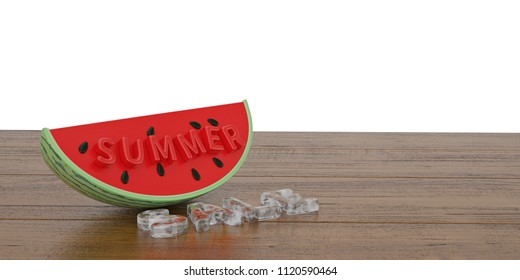 Watermelon slice with summer slae text on wooden board 3D illustration.