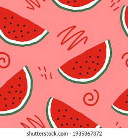 watermelon slices and doodles seamless pattern. hand drawn. illustration for wallpaper, wrapping paper, textile, background. red juicy summer fruit