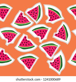 Watermelon slices with seeds and skin, whole and   stubs, dashed lines, labels seamless pattern. Hand drawn.