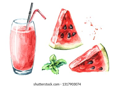 Watermelon smoothies with mint set. Watercolor hand drawn illustration, isolated on white background