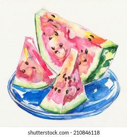 watermelon. Watercolor sliced watermelon