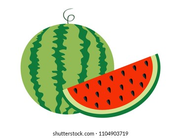 Watermelon whole ripe green stem. Slice cut half seeds icon set. Green Red round fruit berry flesh peel. Natural healthy food. Sweet water melon. Tropical fruits. White background. Isolated.