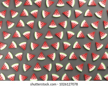 Watermelons on gray background