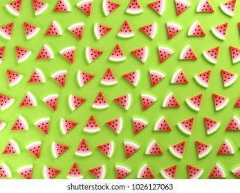 Watermelons on green background