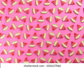 Watermelons on pink background