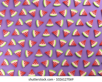 Watermelons on purple background