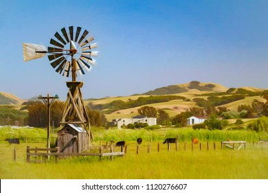 Water-pumping windmill on ranch with grazing cattle on sunny afternoon in northern California, USA, with digital painting effect