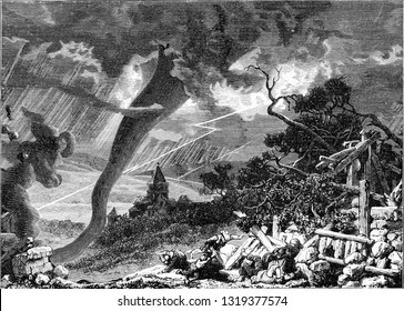 Waterspout around Loudon, vintage engraved illustration. From the Universe and Humanity, 1910.