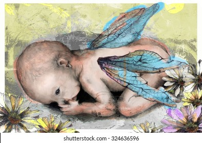 Watery Abstract Fairy Baby in Pastel Colors