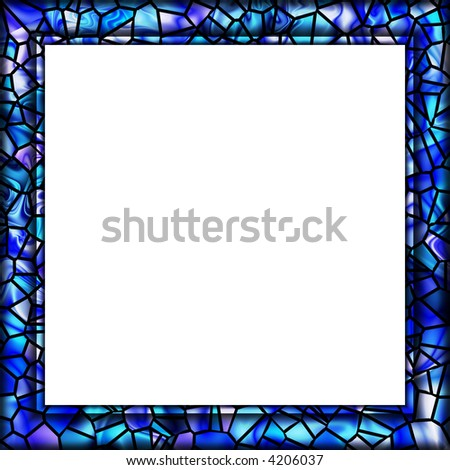 Watery Blue Mosaic Tile Picture Frame Stock Illustration 4206037 ...