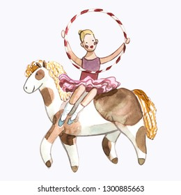 Watrcolor children's illustration of cute circus horsewoman isolated on white background funny