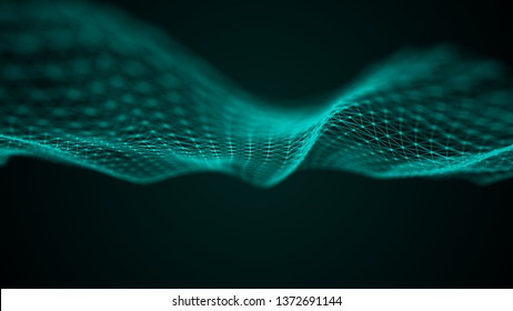 Wave 3d. Futuristic point wave. Abstract background with a dynamic wave. Data technology illustration.