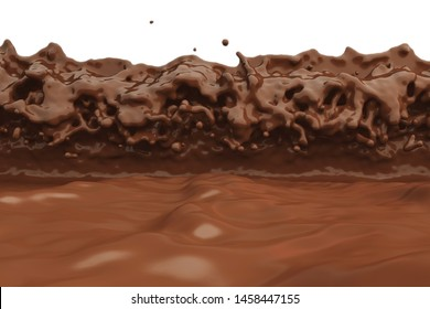 Wave chocolate milk cocoa choco lactose liquid brown twist splatter splash curl flood movement incoming tide 3d reflective river pool molten light frothy waterfall mix flavour. 3D Illustration.