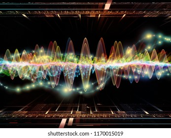 Wave Function series. Abstract background made of colored sine vibrations, light and fractal elements for use with projects on sound equalizer, music spectrum and  quantum probability