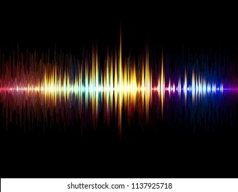 Wave Function series. Abstract composition of colored sine vibrations, light and fractal elements for projects on sound equalizer, music spectrum and  quantum probability