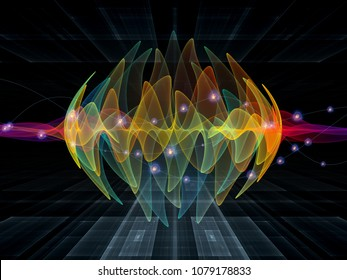 Wave Function series. Arrangement of colored sine vibrations, light and fractal elements on the subject of sound equalizer, music spectrum, quantum probability and science education