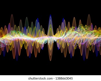 Wave Function series. Artistic abstraction composed of colored sine vibrations, light and fractal elements on the subject of sound equalizer, music spectrum and  quantum probability