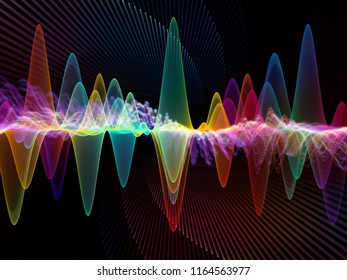 Wave Function series. Backdrop of colored sine vibrations, light and fractal elements on the subject of sound equalizer, music spectrum and  quantum probability