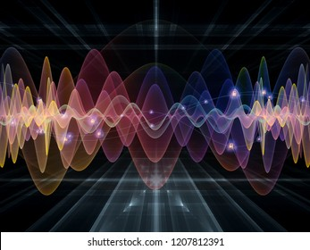 Wave Function series. Backdrop of  colored sine vibrations, light and fractal elements to complement your design on the subject of sound equalizer, music spectrum and  quantum probability