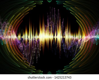Wave Function series. Backdrop composed of colored sine vibrations, light and fractal elements and suitable for use in the projects on sound equalizer, music spectrum and  quantum probability