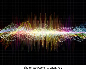 Wave Function series. Backdrop design of colored sine vibrations, light and fractal elements for works on sound equalizer, music spectrum and  quantum probability