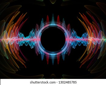 Wave Function series. Background composition of  colored sine vibrations, light and fractal elements on the subject of sound equalizer, music spectrum and  quantum probability