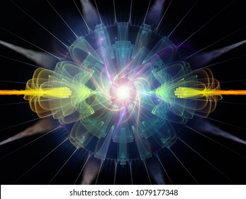 Wave Function series. Background design of colored sine vibrations, light and fractal elements on the subject of sound equalizer, music spectrum, quantum probability and science education
