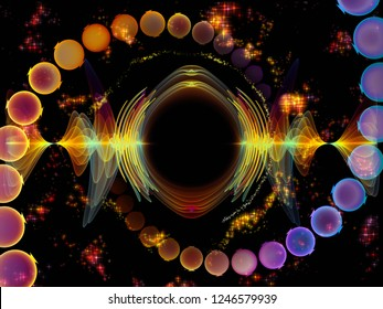 Wave Function series. Composition of colored sine vibrations, light and fractal elements on the subject of sound equalizer, music spectrum and  quantum probability