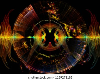 Wave Function series. Visually pleasing composition of colored sine vibrations, light and fractal elements for works on sound equalizer, music spectrum and  quantum probability