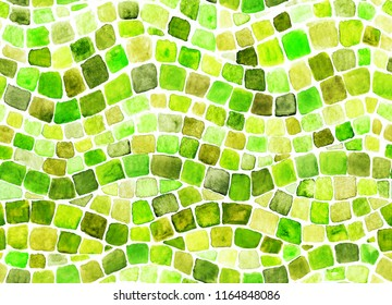 Wave green mosaic illustration hand-drawn with watercolor