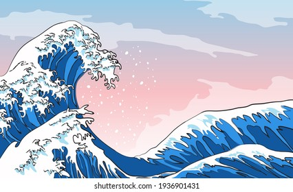 Wave hokusai beach japan sea tsunami
