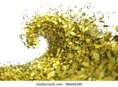 The wave of money. A huge tsunami wave of gold coins symbolizes success and good profits. The object isolated from background (tiff image contains alpha channel)