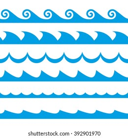 Wave set. Waves seamless pattern. Sea and ocean waves isolated on white background.