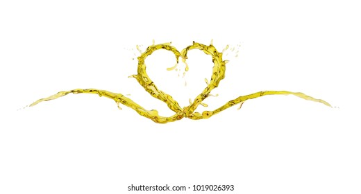 Wave splash of yellow oil in form of heart shape isolated on white background. Design creative concept for love or valentine. 3D rendering illustration.