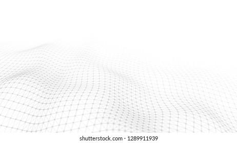 Wind weißer Hintergrund. Abstrakter weißer futuristischer Hintergrund. Welle mit Verbindungspunkten und Linien auf dunklem Hintergrund.Welle von Partikeln. 3D-Darstellung.