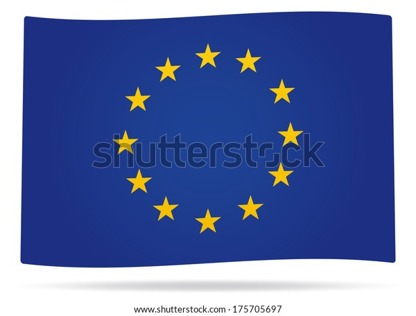Waved Europe union flag with shadow