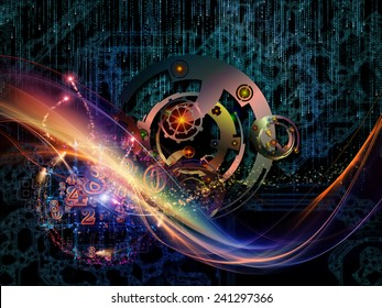 Waves of Technology series. Design composed of lights, fractal and technological elements as a metaphor on the subject of science, philosophy, metaphysics and modern technology