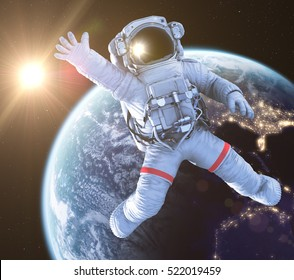 Waving Astronaut in an Outer Space, 3d render