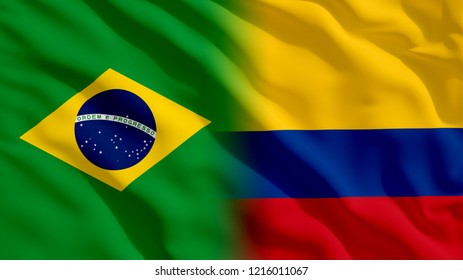 Waving Brazil and Colombia Flags