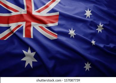 Waving colorful Australian flag