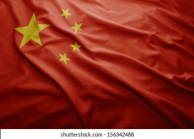 Waving colorful Chinese flag