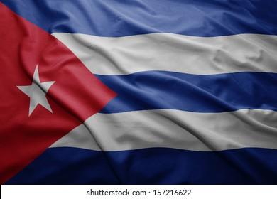 Waving colorful Cuban flag