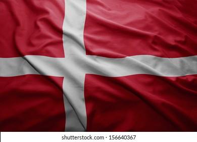 Waving colorful Danish flag