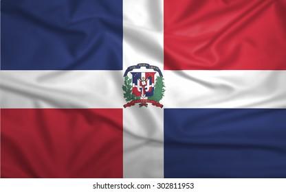 Waving colorful Dominican Republic flag