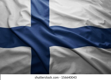 Waving colorful Finnish flag