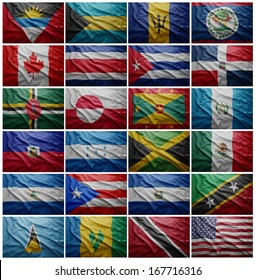 Waving colorful flags of all the North American countries(without Panama)