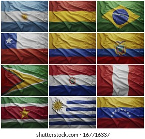 Waving colorful flags of all the South American countries
