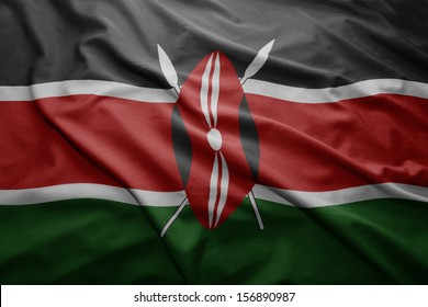 Waving colorful Kenyan flag